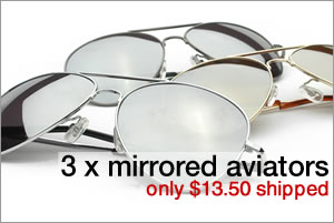 3 pack of mirrored aviators