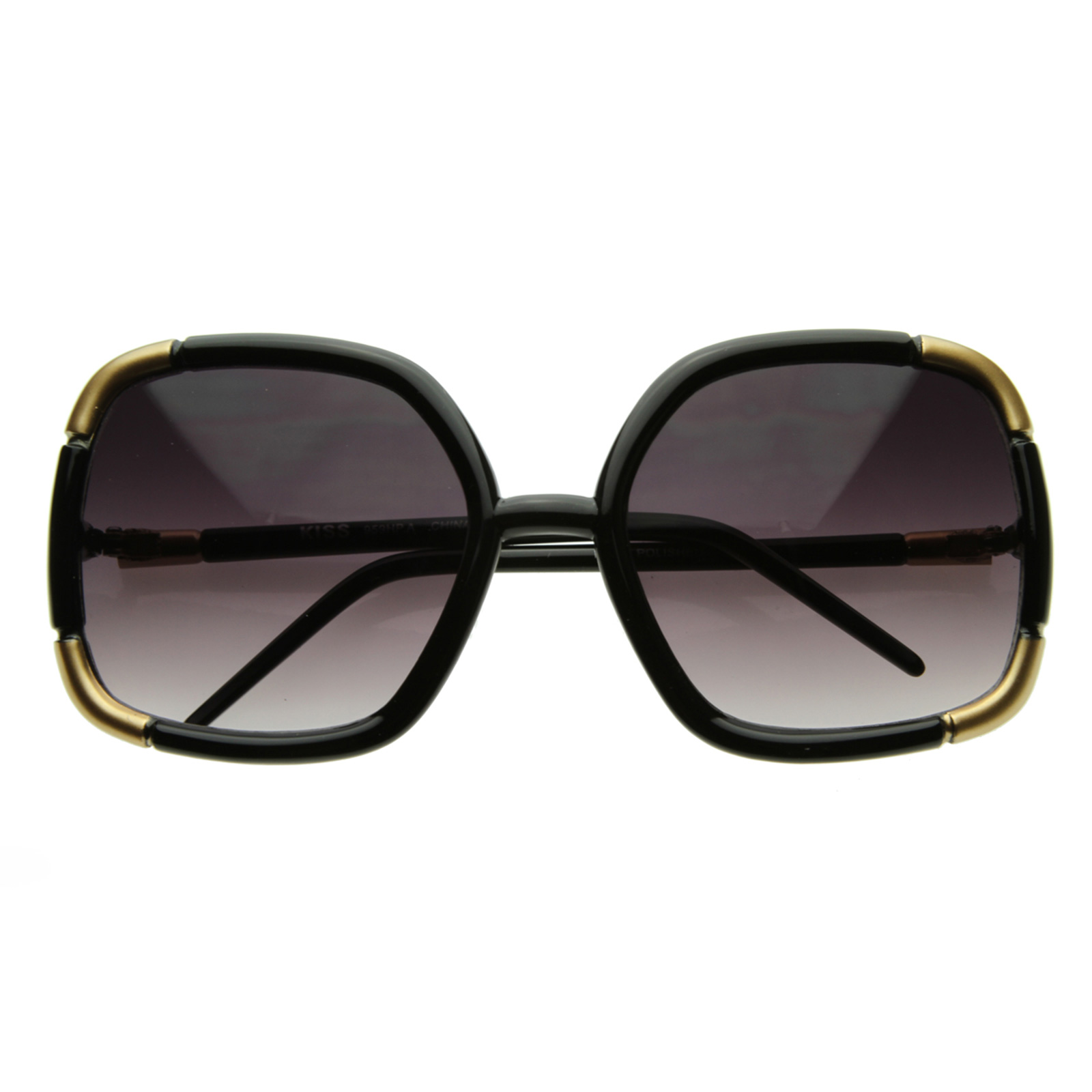 Oversized Gold Frame Sunglasses : Celebrity Square Oversize LA TMZ Sunglasses 2597 Black eBay