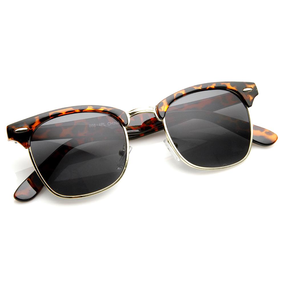 Half Frame Clubmaster Glasses : Polarized Classic Half Frame Retro Clubmaster Sunglasses ...