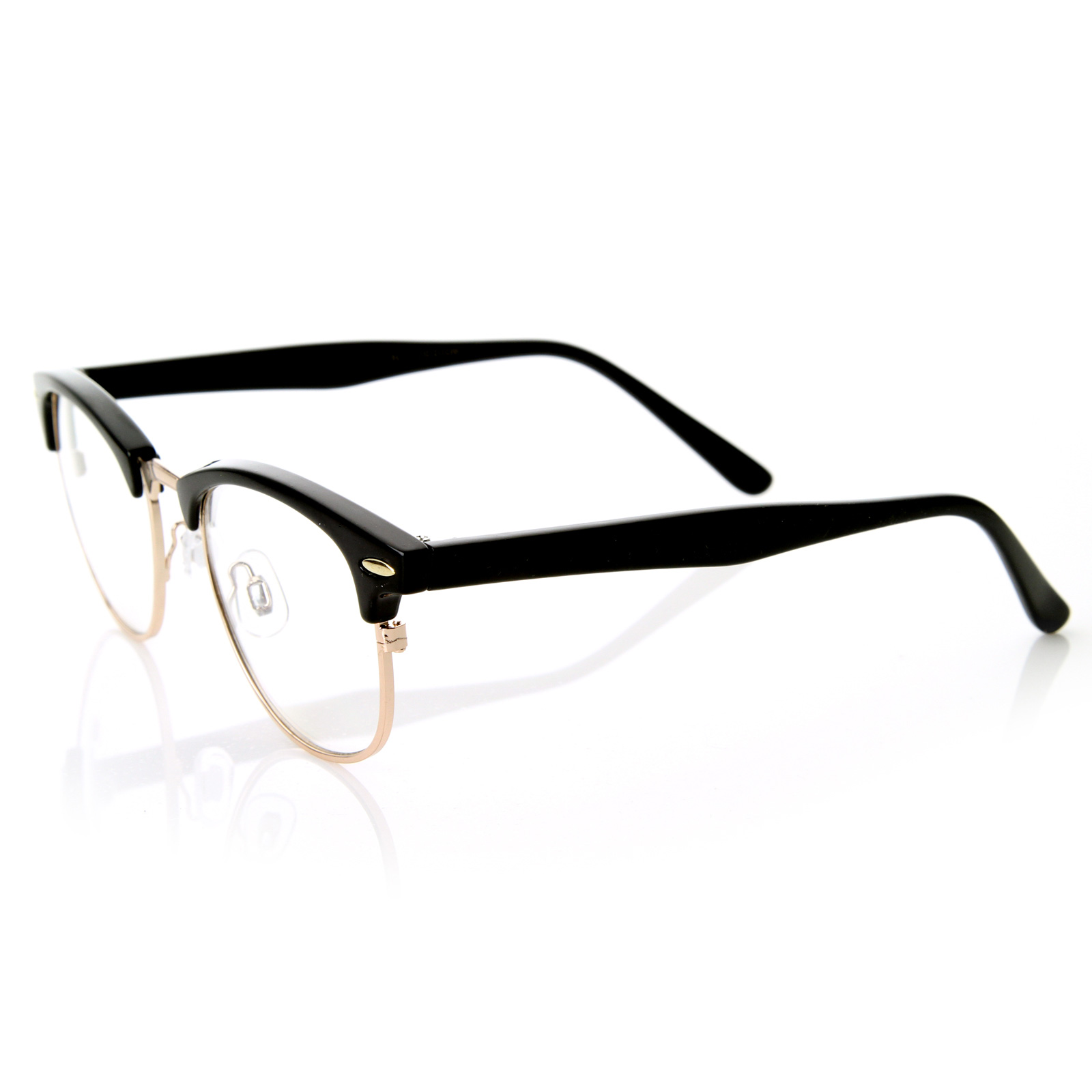 optical quality horned clear lens rx able half frame