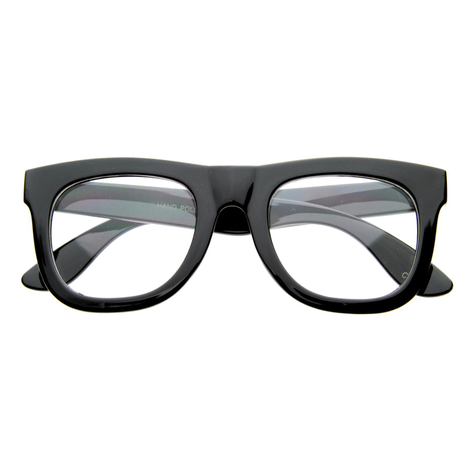 CLEAR LENS Retro EMO Thick Wayfarer Glasses 8084 BLACK