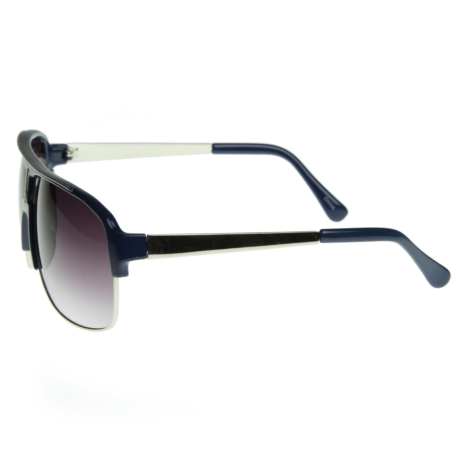 Big Frame Aviator Glasses : European Inspired Large Clubmaster Half Frame 80s Style ...