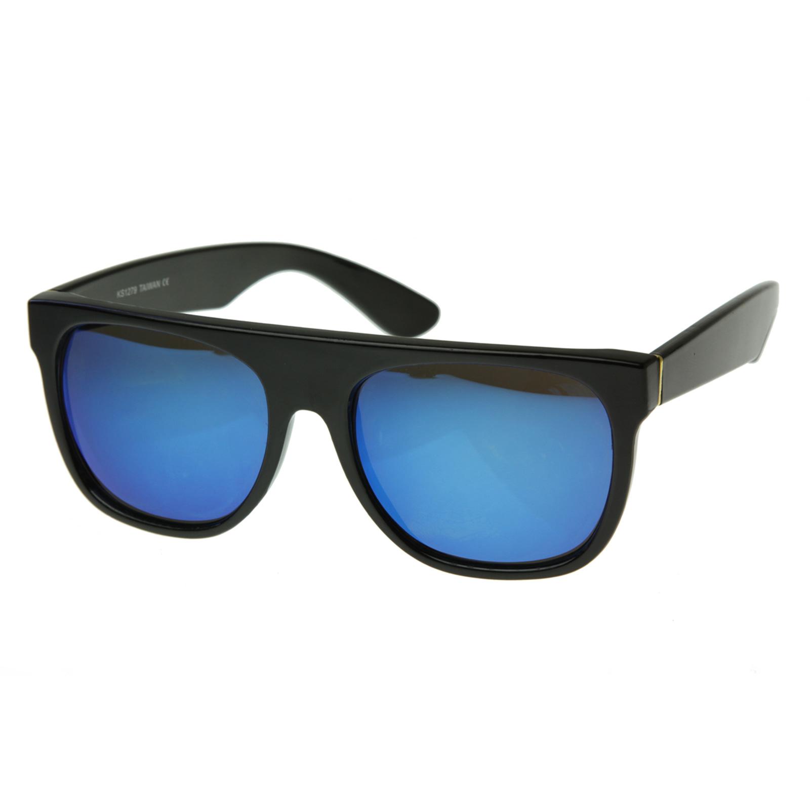 bright revo mirror lens super flat top wayfarer sunglasses 8