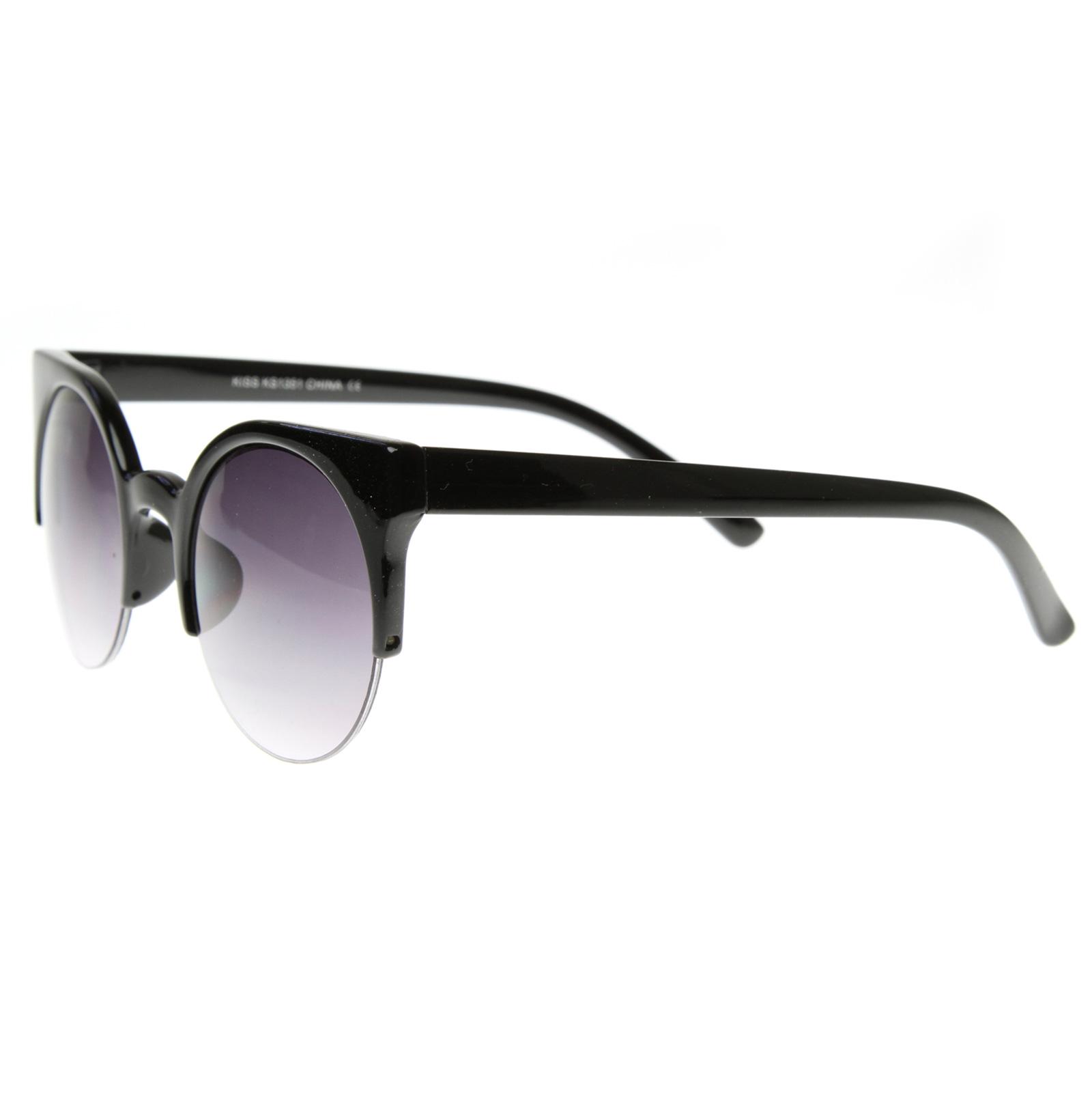 Designer Glasses Half Frame : Designer Inspired Round Circle Cat Eye Semi-Rimless Half ...