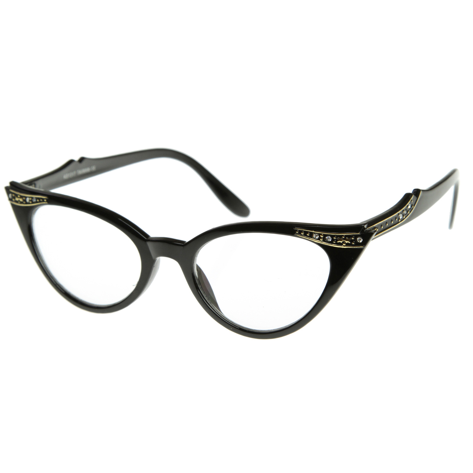 Vintage 1950s Inspired Fashion Clear Lens Cat Eye Glasses ...