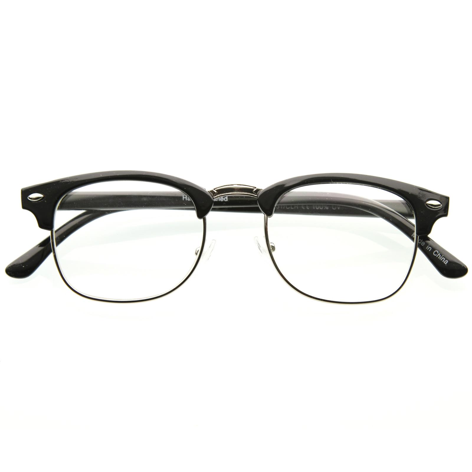Half Frame Clear Lens Glasses : Unworn Original Vintage Half Frame Clubmasters Shades ...