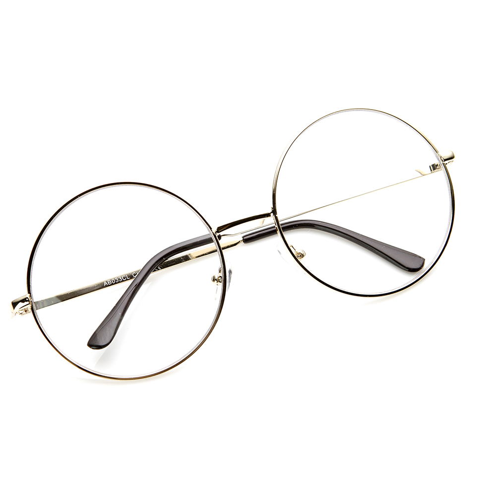 Big Circle Frame Glasses : Large Oversized Metal Frame Clear Lens Round Circle Eye ...