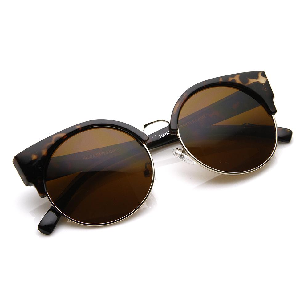 Round Circle Half Frame Semi-Rimless Cateye Sunglasses eBay