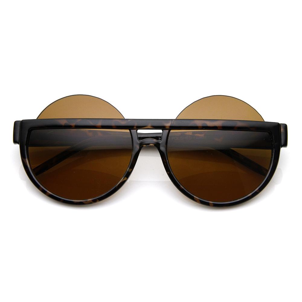 Big Mod Round Circle Half Frame Oversized Sunglasses