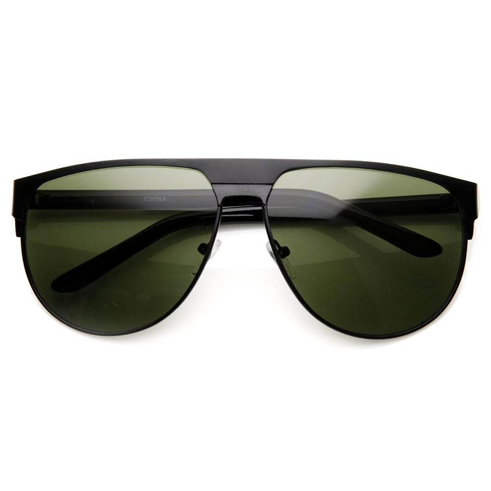 Best Wide Frame Glasses : Mens Sunglasses Modern Fashion Large Metal Frame Flat Top ...