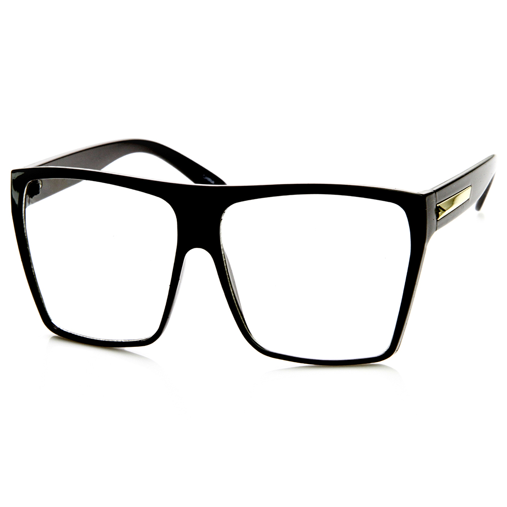 Eyeglass Frames Square : Large Oversized Retro Fashion Clear Lens Square Glasses eBay