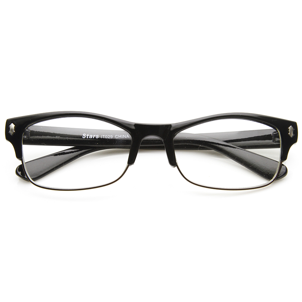 Casual Fashion Horned Rim Half Frame Rectangle Clear Lens ...