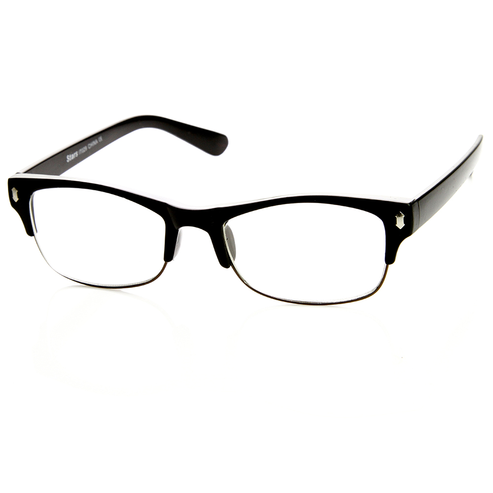casual fashion horned half frame rectangle clear lens