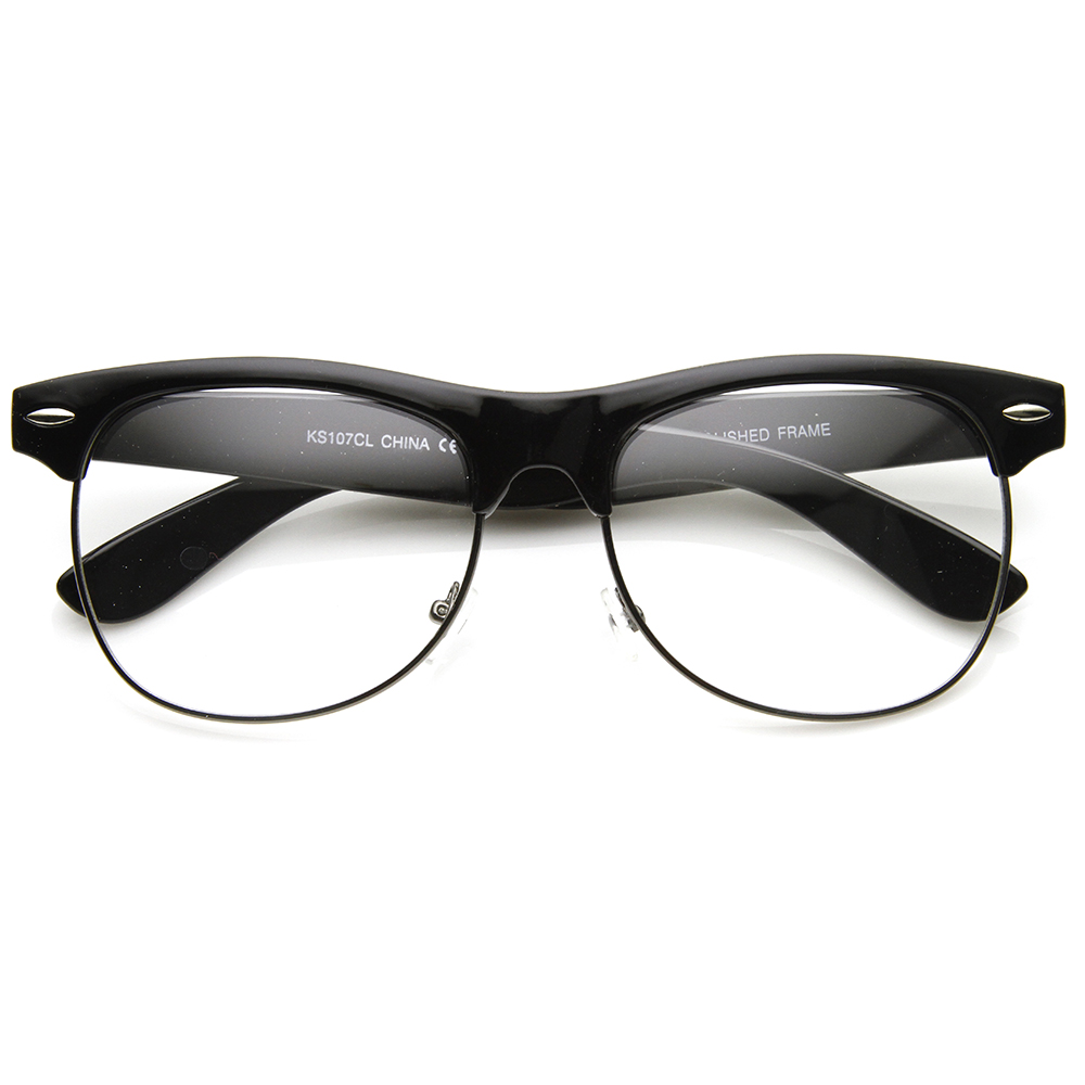 Clear Frame Glasses Retro : Retro Classic Half Frame Clear Lens Clubmaster Glasses ...