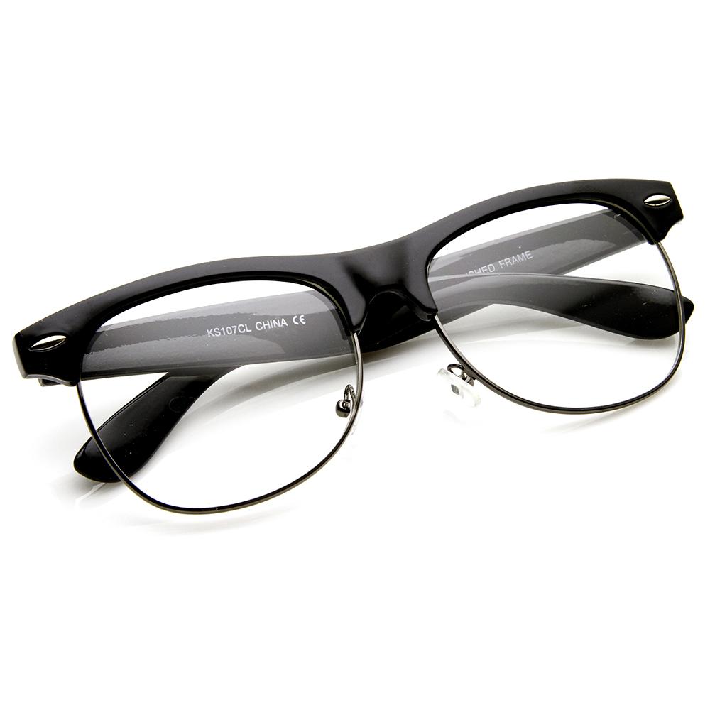 Half Frame Horn Rimmed Glasses : Retro Classic Half Frame Clear Lens Horn Rimmed Eyeglasses ...
