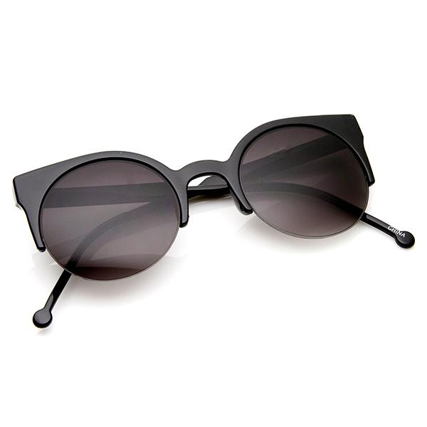 Womens Fashion Half Frame Round Cateye Sunglasses eBay