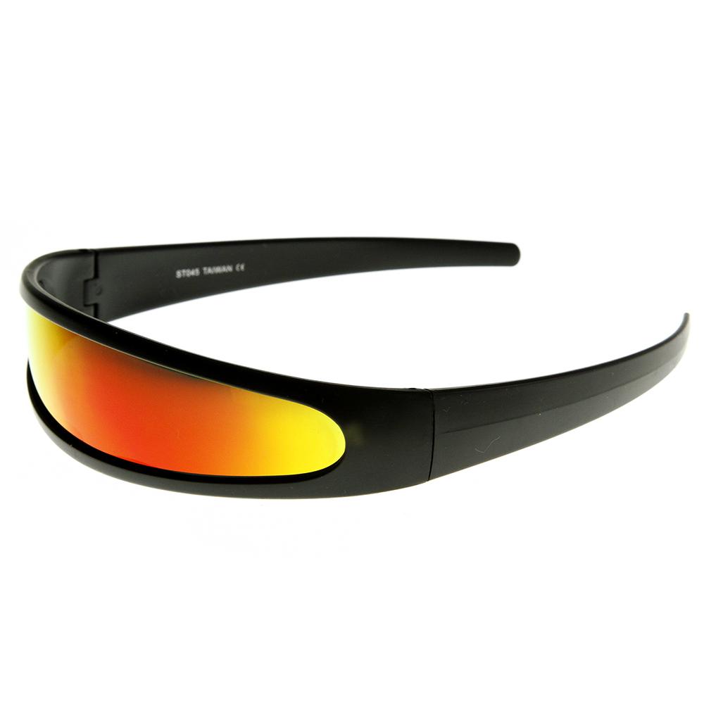 Futuristic Narrow Cyclops Color Mirrored Lens Visor Sunglasses | eBay