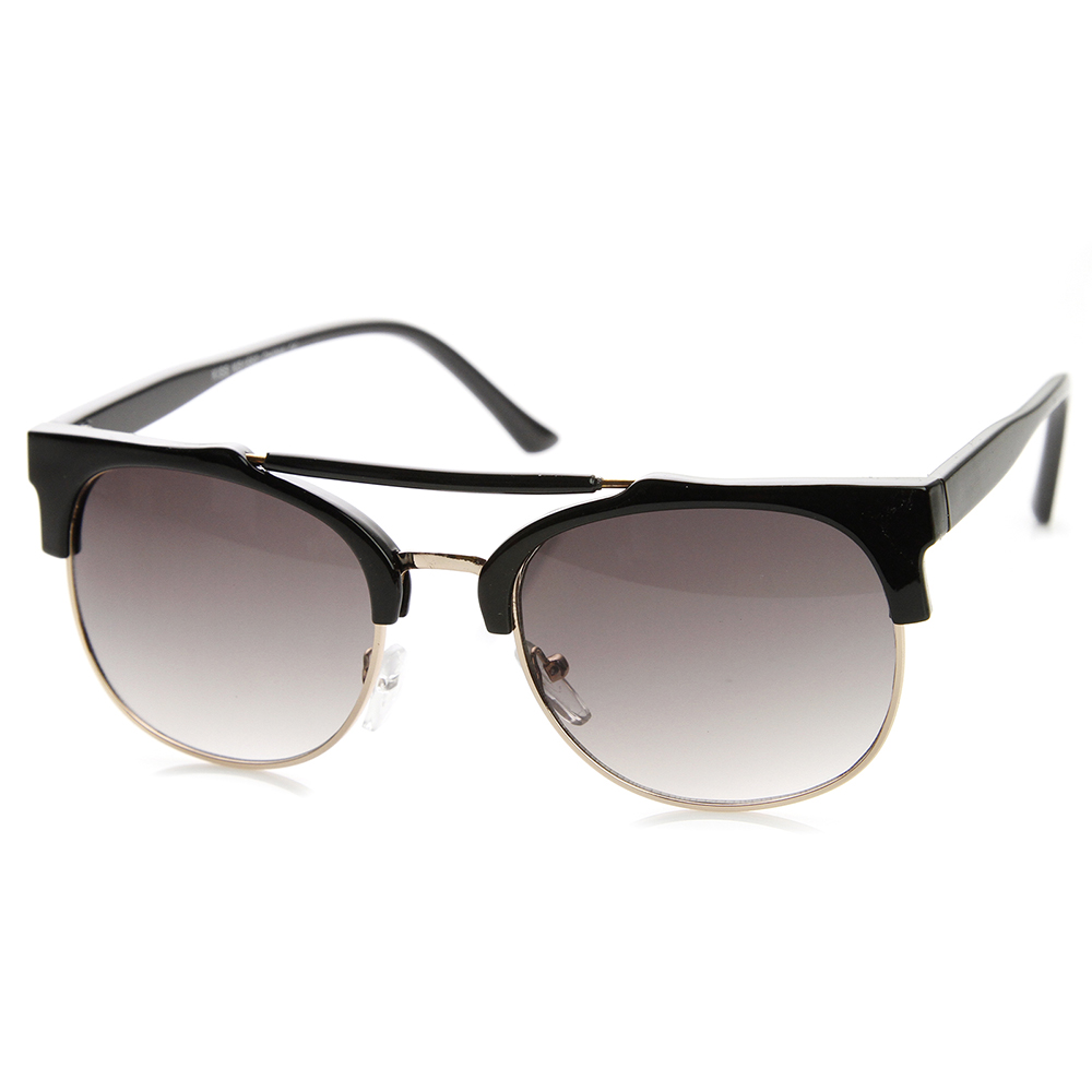 Double Bridge Half Frame Crossbar Horn Rimmed Sunglasses ...