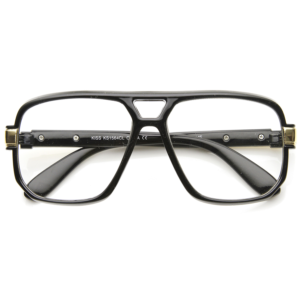 Plastic Glasses Frame Polish : Classic Square Frame Plastic Clear Lens Aviator Glasses eBay