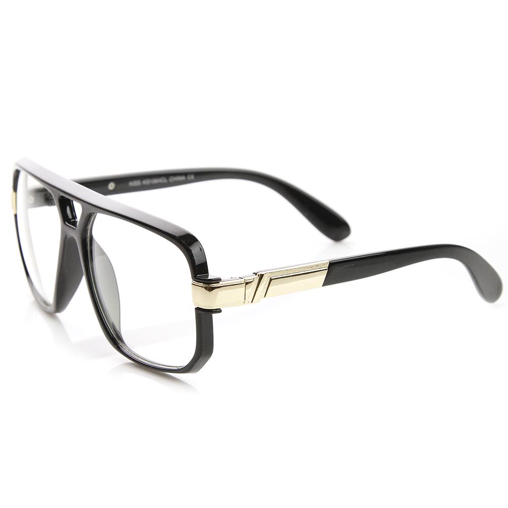 Glasses Frame Clear : Classic Square Frame Plastic Clear Lens Aviator Glasses eBay
