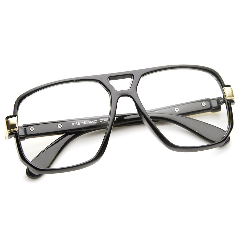 classic square frame plastic clear lens aviator glasses ebay