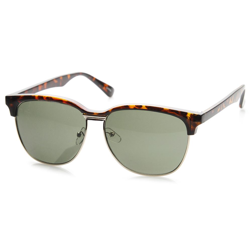 Half Frame Horn Rimmed Glasses : zeroUV Style# 9133