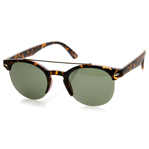 Double Bridge Half Frame Semi-Rimless Round Sunglasses eBay