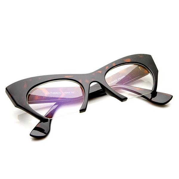 Rimless Cat Eye Glasses : Womens High Fashion Semi-Rimless Clear Lens Cat Eye ...